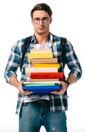 student holding text books